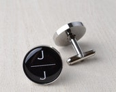 Minimalist Cufflinks / Black White Silver / Cuff link accessories for men / Personalized business jewelry