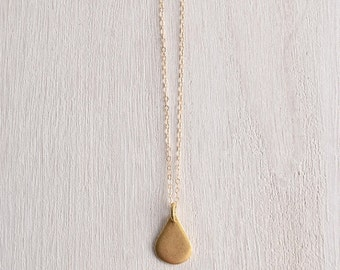 Delicate Gold Necklace with Gilded Teardrop / Womens layer necklace / Bridesmaid Bridal Jewelry