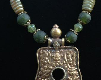 Long Tibetan Ethnic Design with Brass Pendant, Emerald Green Recycled Glass Necklace and Earrings