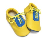 Handmade sunshine yellow and sky blue soft soled leather baby shoes.  Baby moccasins.  Slippers.