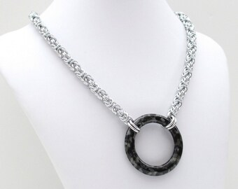 Large black circle necklace, chainmail jewelry, Byzantine weave