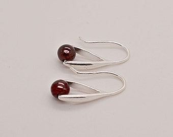 Garnet Sterling Silver Earrings 23