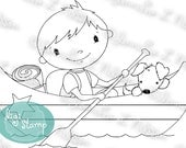 Canoe Fun - digital stamp digistamp JPG PNG - boy dog camping boating line art for crafting