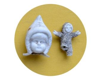 2 Damaged, Antique German Bisque, Snow Baby, Doll Parts from Elizabeth Rosen
