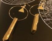 gold titanium quartz earrings