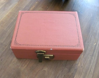 Vintage Small Jewelry Box in Tan Color