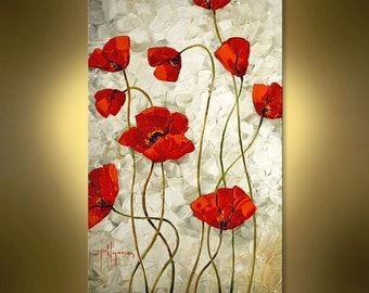 Original Oil Painting Red Poppy on Canvas Abstract Home Decor Impasto Palette knife  Interior Design