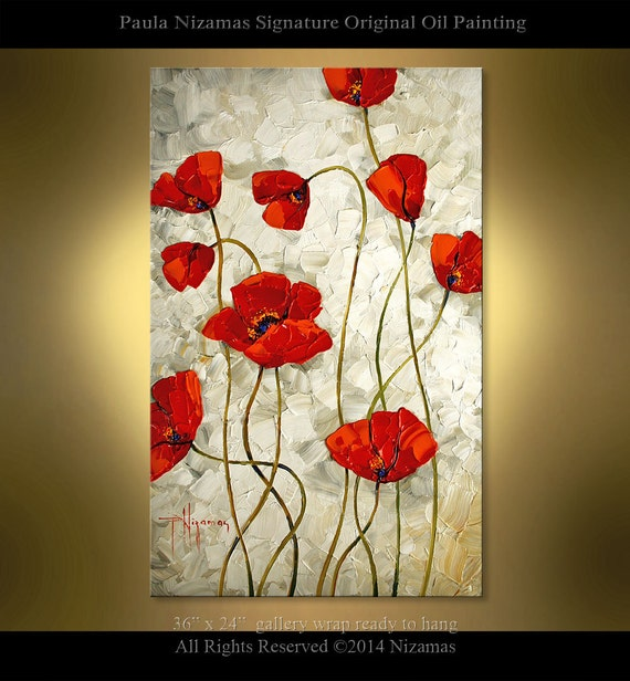 Original oil painting red poppy on canvas abstract home decor for Modern art home decor etsy