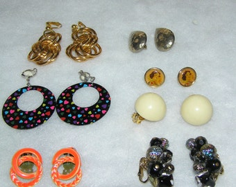 12 pairs of fabulous 80's and 90's clip on earrings