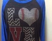Baseball Love bling burnout raglan