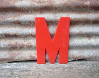 Vintage Marquee Sign Large 10 Inch Letter M Sign Red Simple Font Plastic Letter Sign Display Alphabet Spelling vtg Letters Wall Art Retro