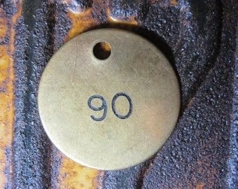 Number Tag Vintage Jewelry Charm Brass Number 90 Tag #90 Tag Number Tag Industrial Tag Lucky Number 1990s 90s Birth Year Birthday  Fob Tag
