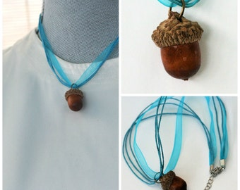 Peter Pan Thimble for Acorn Kiss, Wendy Acorn Necklace Natural Acorn and Wendy Blue, Second Star Right