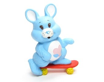 "Swift Heart Rabbit Care Bears Cousin Vintage PVC Mini Figurine ""Riding on a Skateboard"""