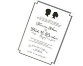 Black and White Wedding Invitation Cameo Silhouette with Calligraphy Fonts and Striped Border