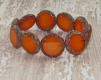 Orange Czech Glass 15mm Coin Bead Picasso Carved MANGO SLICE (4)