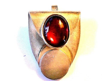Necklace Ruby Red Cabochon Pendant  Necklace Silver Art Deco Gift Box