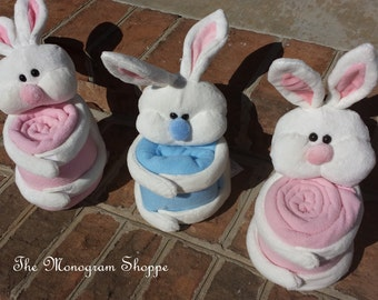 Bunny Rabbits with Matching Blankets, Blue or Pink, Velcro Stuffie, Easter, Free Monogramming