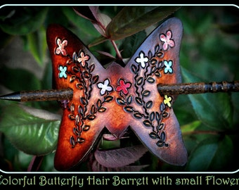 Colorful Real Leather Butterfly Hair Barrett with small Hand Painted Flowers with very upscale walnut stick with high gloss varnish....