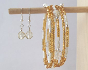 Gold, White and Silver Bracelet - matching SET - Czech Glass - Golden Honey & White Wrap Bangle - Unique
