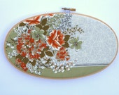 Vintage flowers embroidery hoop / fall colors home decor / olive and orange retro floral / oval hoop