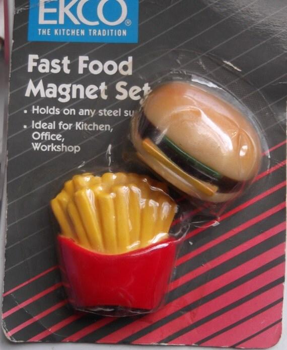 Vintage Fast Food Magnet Set Hamburger and Fries Fridge Magnets 1990