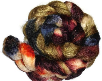 SW BFL Wool and Tussah Silk Roving - Hand Dyed Spinning Fiber - Fiber art - Camouflage