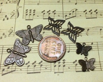 Free US Shipping butterfly charm lot brass brown vintaj stamping  6  in lot