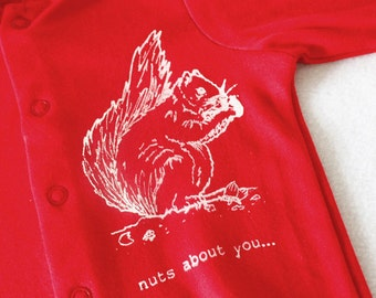 Red baby grow, Gocco Printed Squirrel Nuts about you, various sizes 0-3, 3-6 months, new baby gift, baby shower, gender neutral