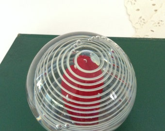 Swirl  paperweight - signed art glass - bubble glass - desk accessory - co-worker gift - office decor - Library Decor - collectible