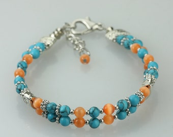 Beaded turquoise orange cat eye layered bracelet Bridesmaids gifts Free US Shipping handmade Anni Designs