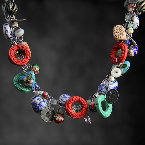 Chunky crocheted wiring statement bold Chinese fashion necklace Bridesmaid gifts Free US Shipping handmade Anni designs