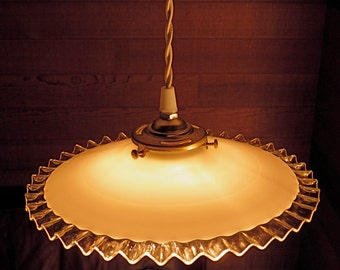 Pendant Light Antique French Glass Shade New Wiring Milkglass w/Clear Glass Ruffled 'Hankie' Edge so Charming!
