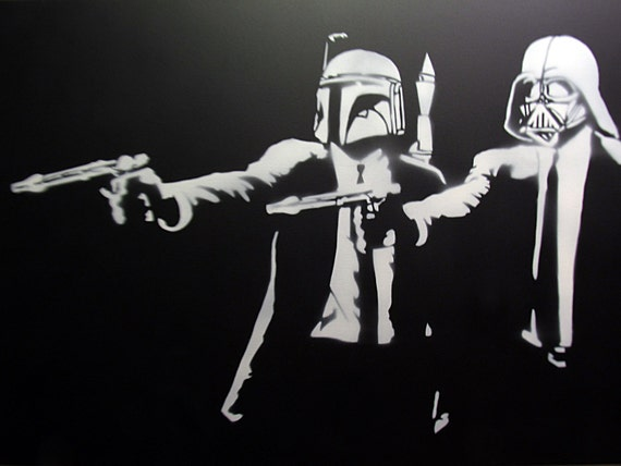 Pochoir de main spray painted banksy pulp fiction star wars - Pochoir star wars ...