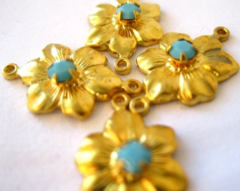 Swarovski flower connector turquoise two loops brass flower connector aqua findings Jewelry supply 2 ring connector Qty 4 findings destash