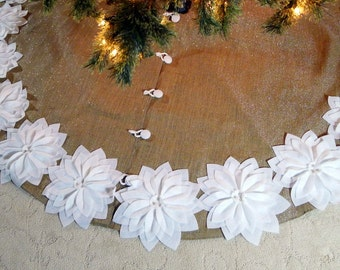 """60"""" Burlap Tree Skirt with silver threads and White Poinsettias *FREE SHIPPING*"""