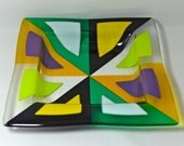 Retro Fused Glass Bowl with Purple, Yellow, Green and White Triangles