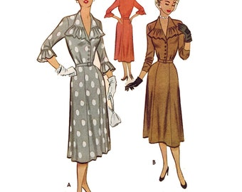 1950s Style Button Up Dress with Jabot Collar and Six Gore Skirt Custom Made in Your Size From a Vintage Pattern
