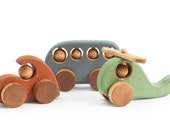 Wooden Toys set with rustic ornament Bus Helicopter and Car
