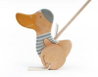 Personalized Wooden Toy, Wooden Duck Push Toy , Kids Wooden Toy, Wood Push Toy For Taddlers