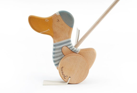 Wooden Toy Push Goose, Personalized Wooden Toy, Wooden Kids Toy