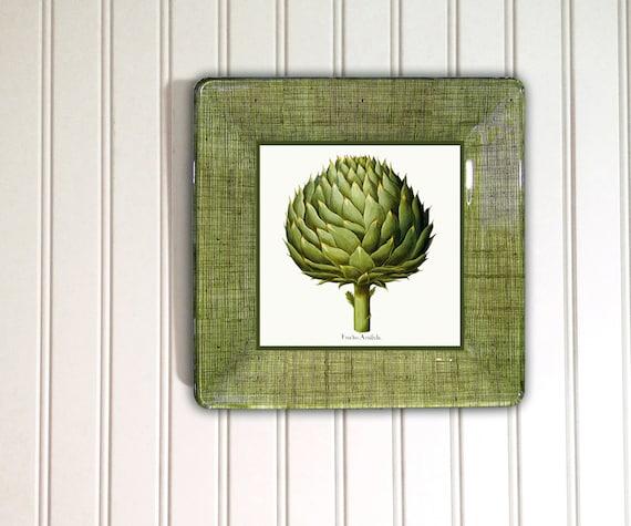Artichoke - print - decoupage plate - green - kitchen decor - vegetable art - botanical - wall hanging - globe artichoke - hanging plate