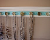 """RESERVED FOR LESLIE **Black** 9 decorative gold knobs on beveled wood with embossed  background 26"""" jewelry storage"""
