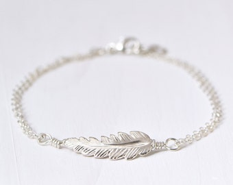 Sterling Silver Feather Bracelet, Nature Jewelry, Silver Feather Jewelry, Boho Bracelet, Feather Charm, Sterling Feather