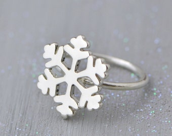 Snowflake Ring, Sterling Silver Snowflake Jewelry, Winter Jewelry, Sterling Snowflake Ring, Christmas Gift, Wintery Jewelry