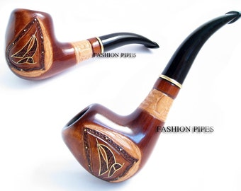 "Wooden Pipe of pear root wood, Tobacco Pipe/pipes Inlaid ""YACHT"" Smoking Pipe Handcrafted & FREE POUCH"