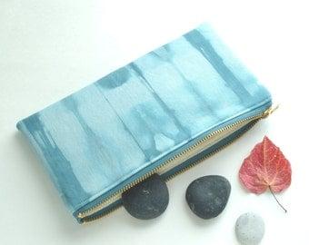 Shibori Pouch - Turquoise Case - Sea Glass