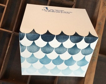 Fading scallop letterpress linocut greeting card