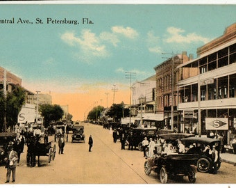 Vintage Postcard, Central Avenue, St. Petersburg, Florida, ca 1920-1930