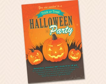 Printable Pumpkin Halloween Party Invitation - Trick or Treat!